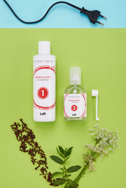 Energia pura kit shampoo e lotion linea treatment reborn di Loft Hair Studio